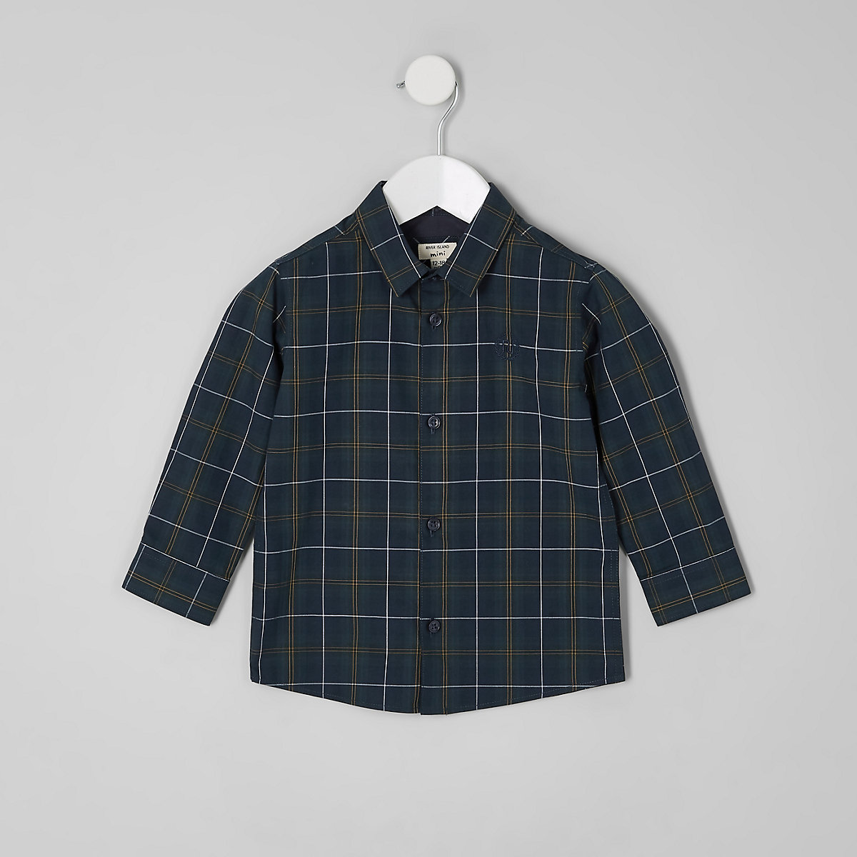 Mini boys green check long sleeve shirt