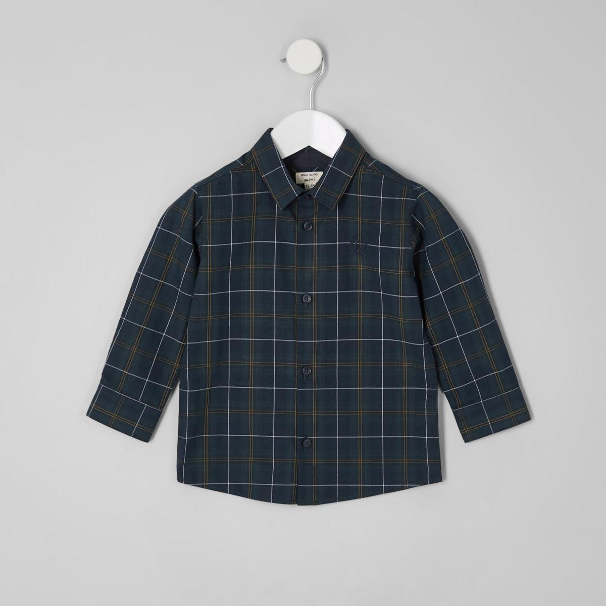 Mini boys green check long sleeve shirt