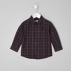 Mini - Paars geruit overhemd met lange mouwen voor jongens