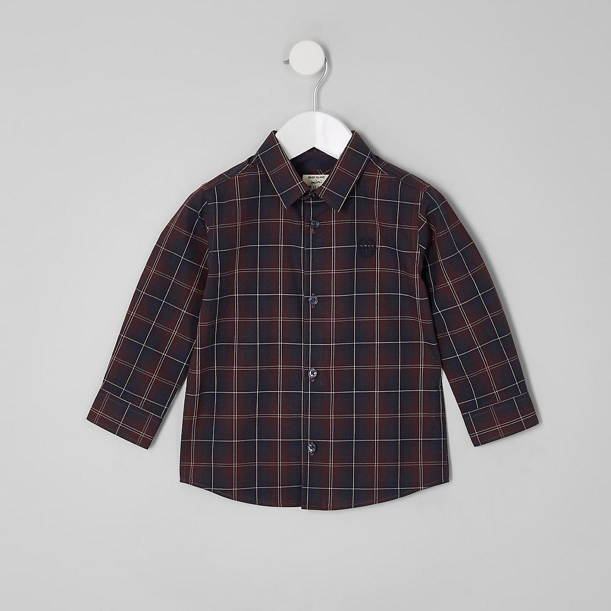 Mini boys purple check long sleeve shirt