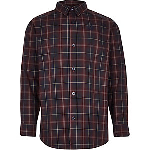 Boys purple check long sleeve shirt
