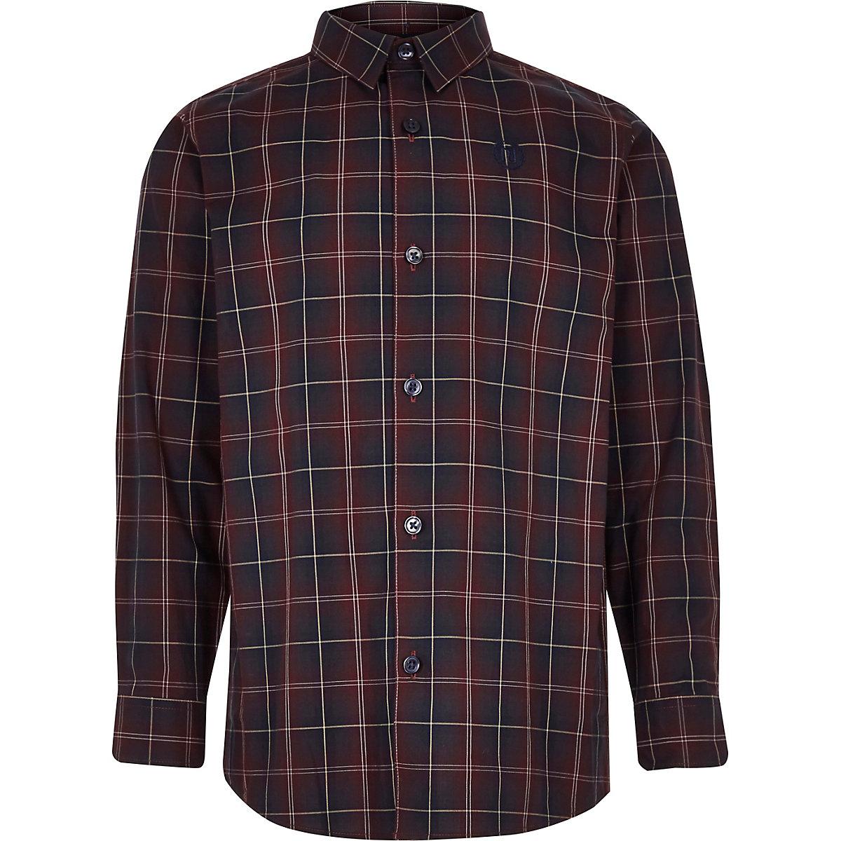 Boys purple check long sleeve shirt