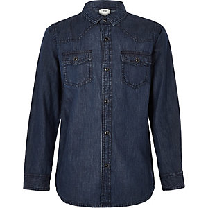 Boys dark blue denim shirt