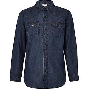 Chemise en jean bleu foncé pour garçon