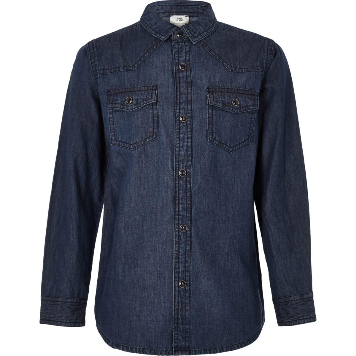 Boys dark blue denim shirt