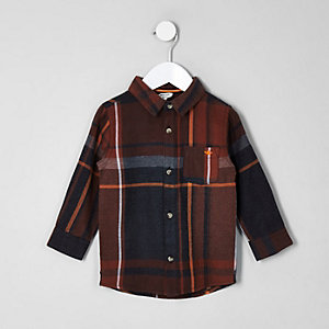Mini boys rust check wasp long sleeve shirt