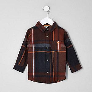 Mini - Roestbruin geruit overhemd met wesp en lange mouwen voor jongens