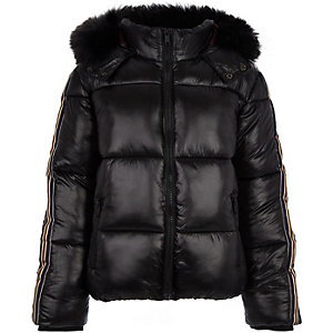 Boys black high shine tape puffer jacket