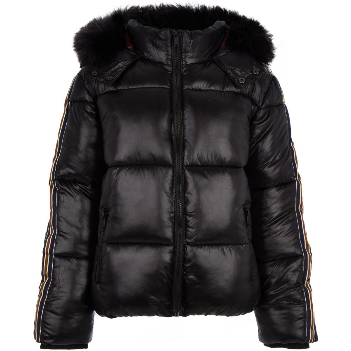 Boys black high shine tape puffer jacket