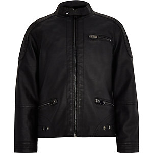 Boys black faux leather biker jacket