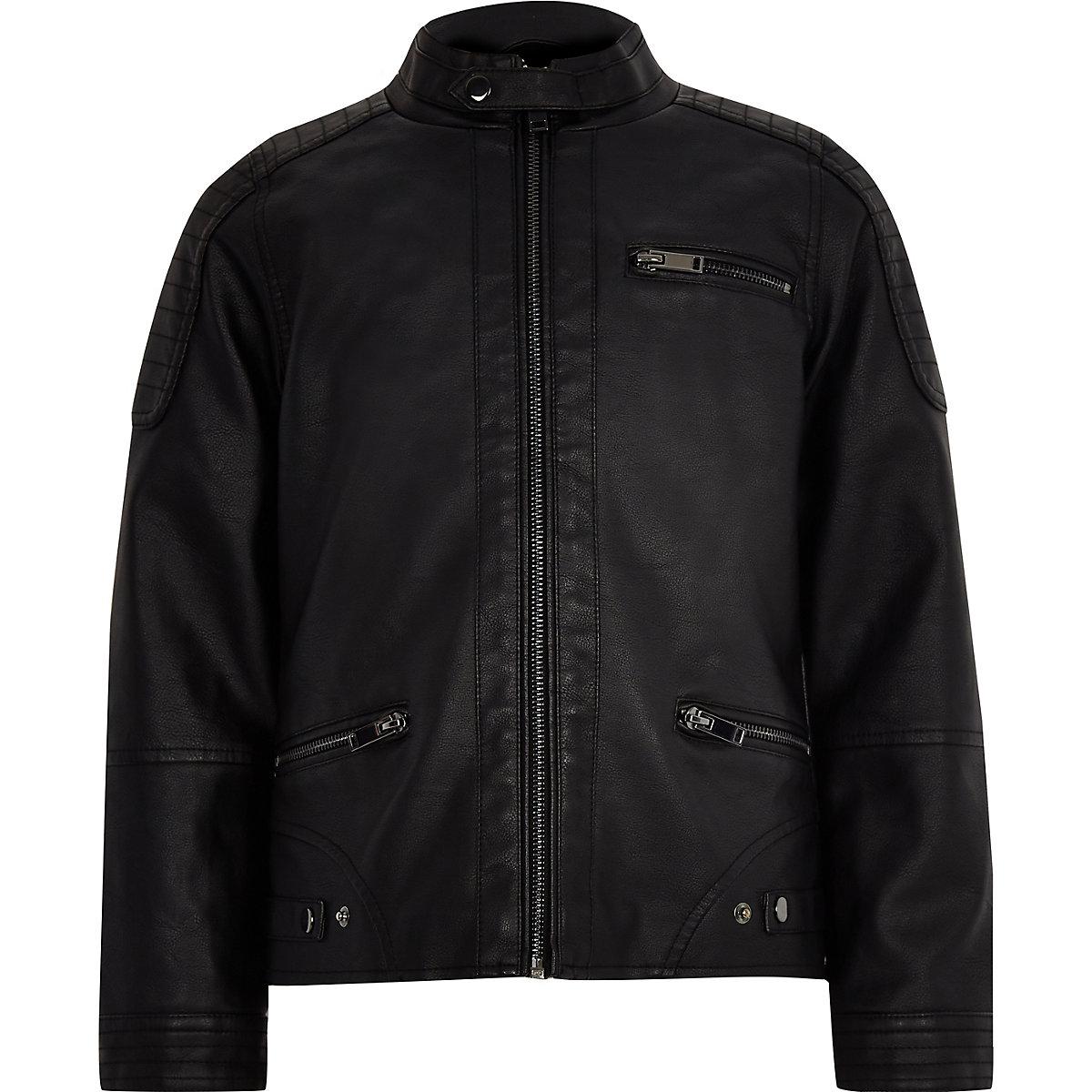 Perfecto Synthétique Manteaux Vestes Noir Cuir En Garçon rUxrzw
