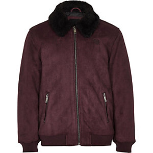 Boys burgundy borg suede jacket