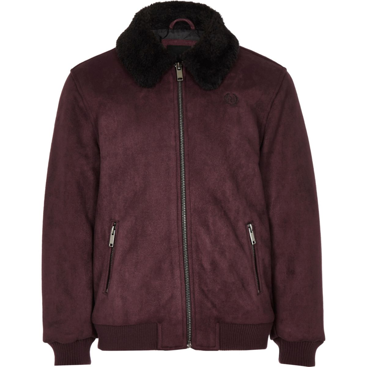 Boys burgundy fleece suede jacket