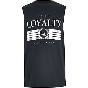 Boys navy 'Loyalty' foil print vest