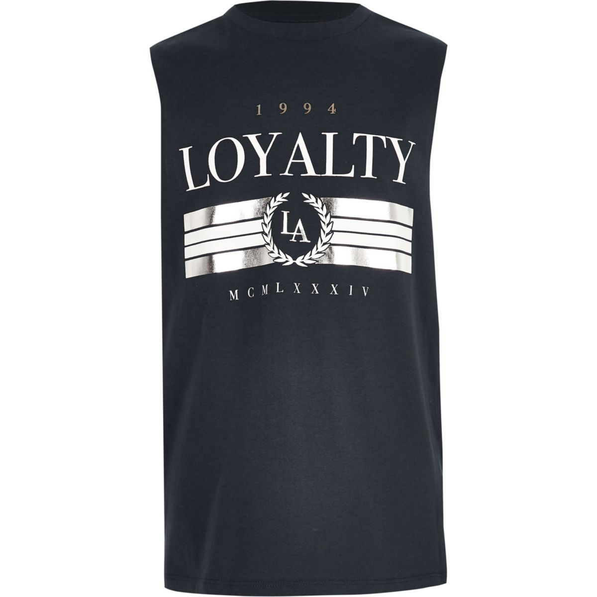 Boys navy 'Loyalty' foil print tank