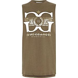 Kaki hemdje met 'Game changer'-print voor jongens