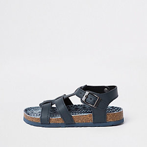 Marineblauwe sandalen met kurkzool voor jongens