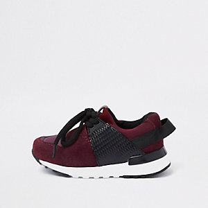 Mini boys dark red runner trainers
