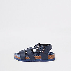 Mini boys navy cork bed buckle sandals