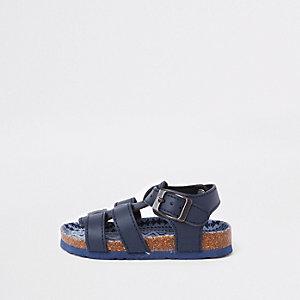 Mini - Marineblauwe sandalen met gesp en kurkbed voor jongens