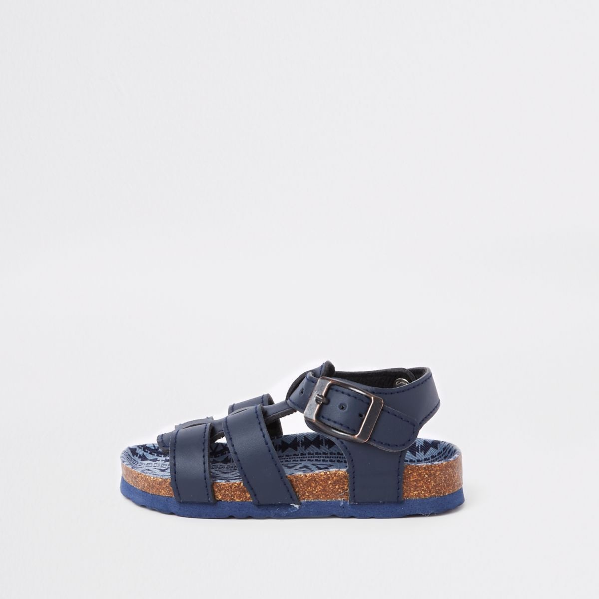 Mini boys navy cork bed buckle sandals