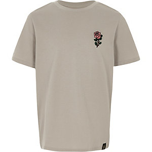 Boys grey textured rose embroidered T-shirt