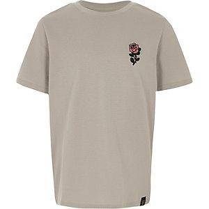 T-shirt gris texturé à rose brodée pour garçon