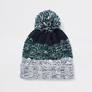 Boys green knit stripe beanie hat