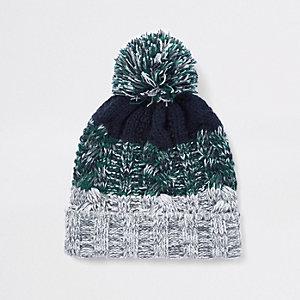 Bonnet en maille rayé vert pour garçon