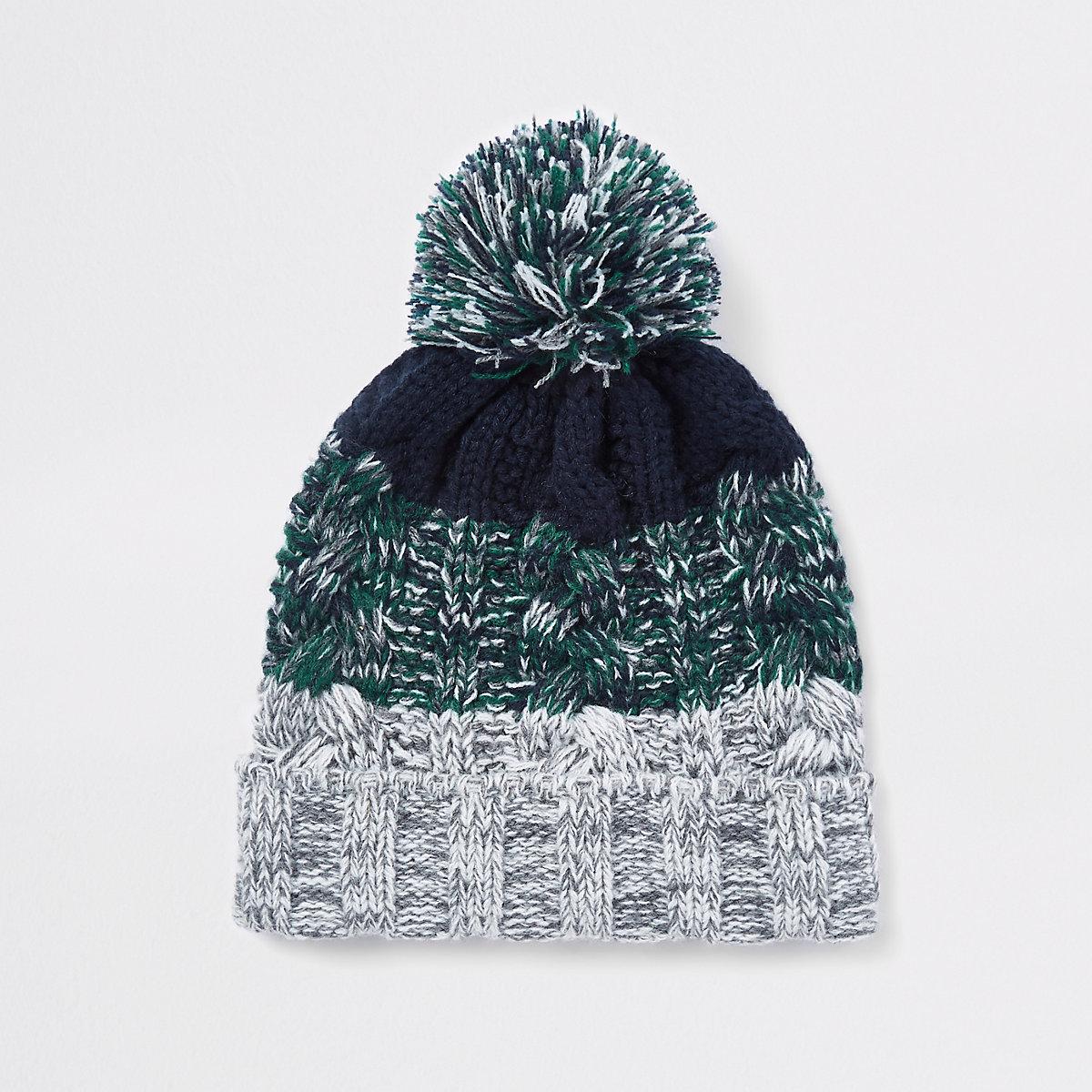 Boys green knit stripe beanie hat