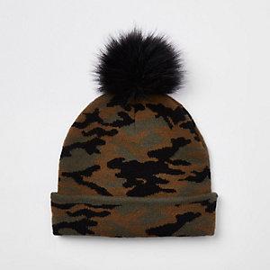 Bonnet motif camouflage kaki en fausse fourrure pour garçon