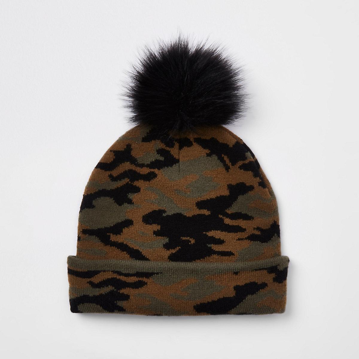 Boys khaki faux fur camo beanie hat
