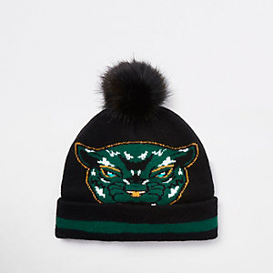 Boys Black Panther faux fur beanie hat
