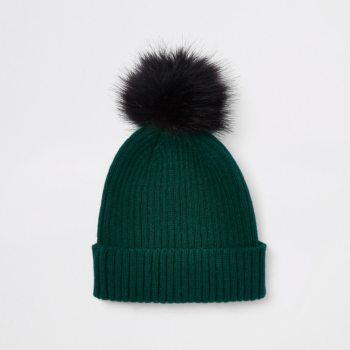 Boys green ribbed knit faux fur beanie hat