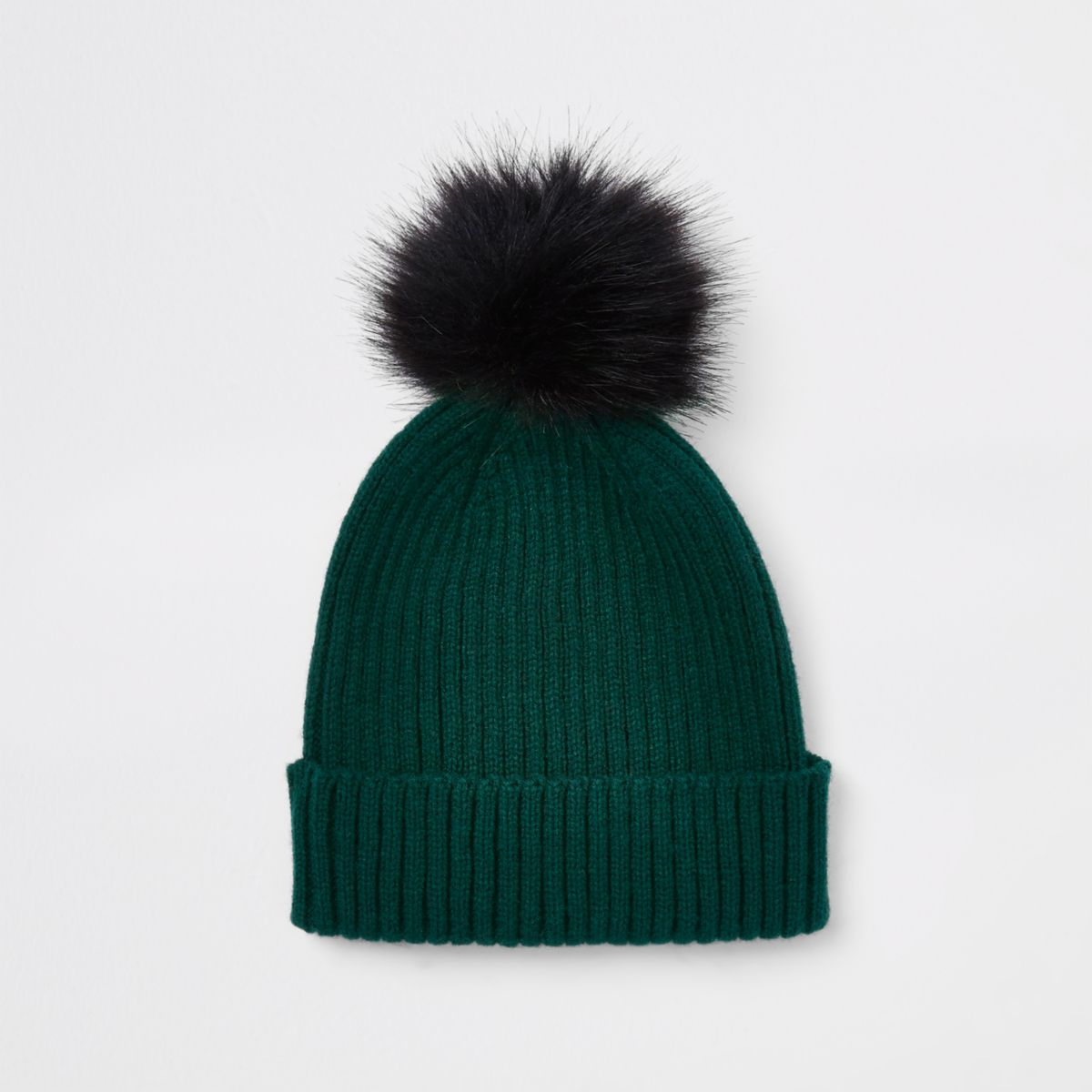 Boys green ribbed knit faux fur beanie hat