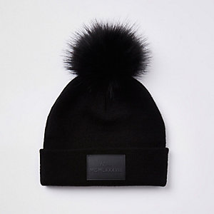 Boys black faux fur pom pom beanie hat