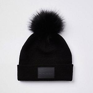 Boys black pom pom beanie hat