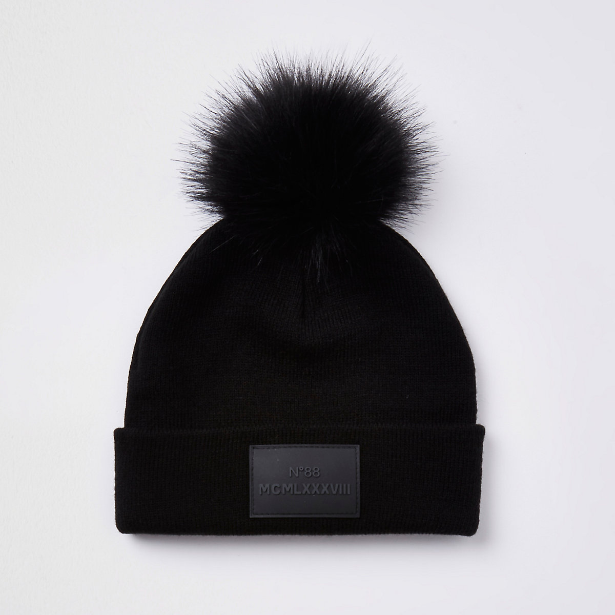 Boys black faux fur pom pom beanie hat - Hats - Accessories - boys 54e6c0a85b0