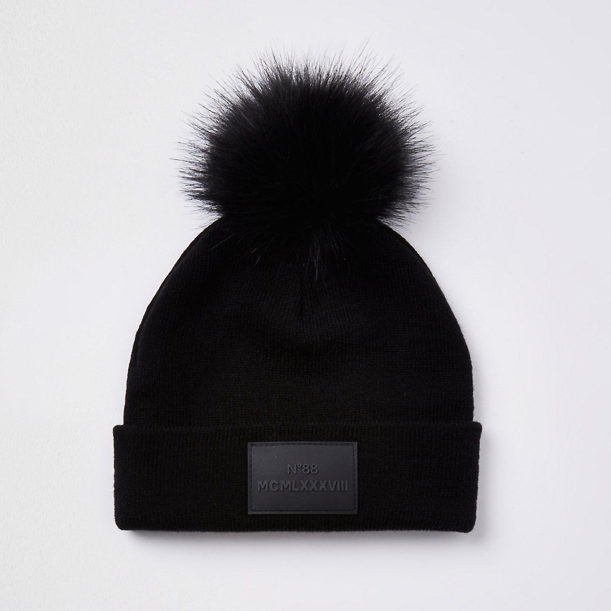 Boys black faux fur pom pom beanie hat
