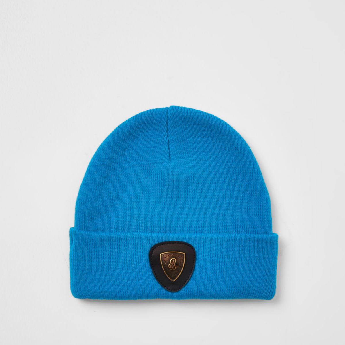 Boys blue badge slouch beanie hat