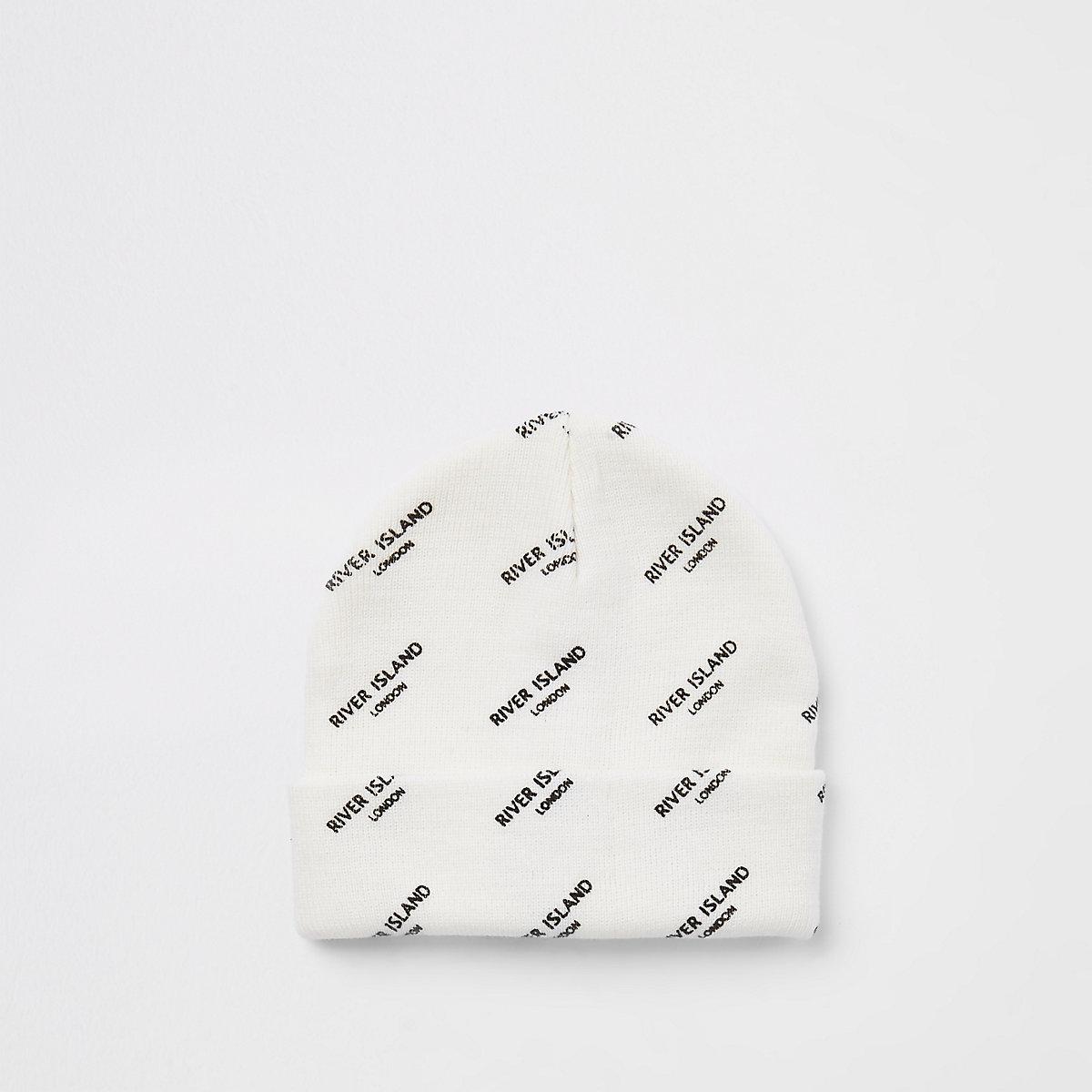 Bonnet blanc à logo RI garçon