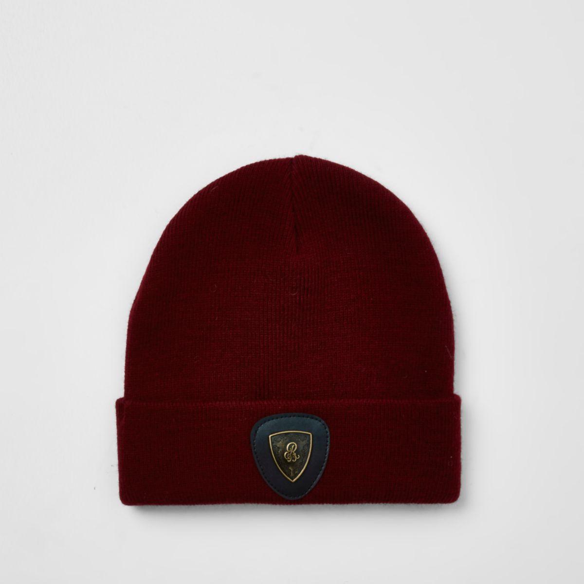 Boys dark red badge slouch beanie hat