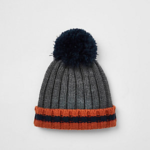 Mini boys grey striped bobble top knot beanie