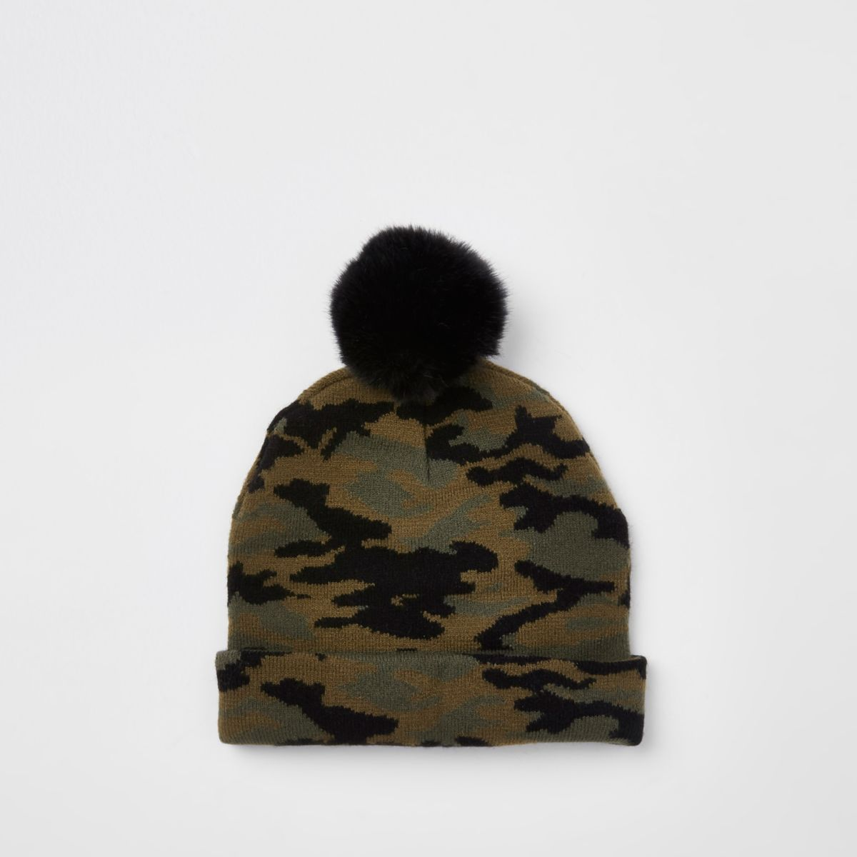 Mini boys khaki faux fur camo beanie hat