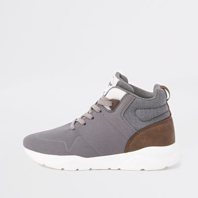 Boys Grey Hi Top Runner Trainers by River Island
