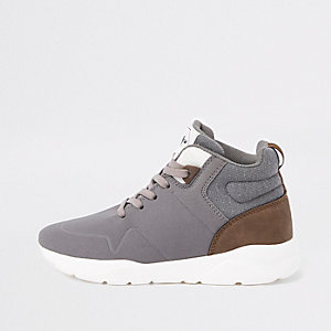 Boys grey hi-top runner trainers
