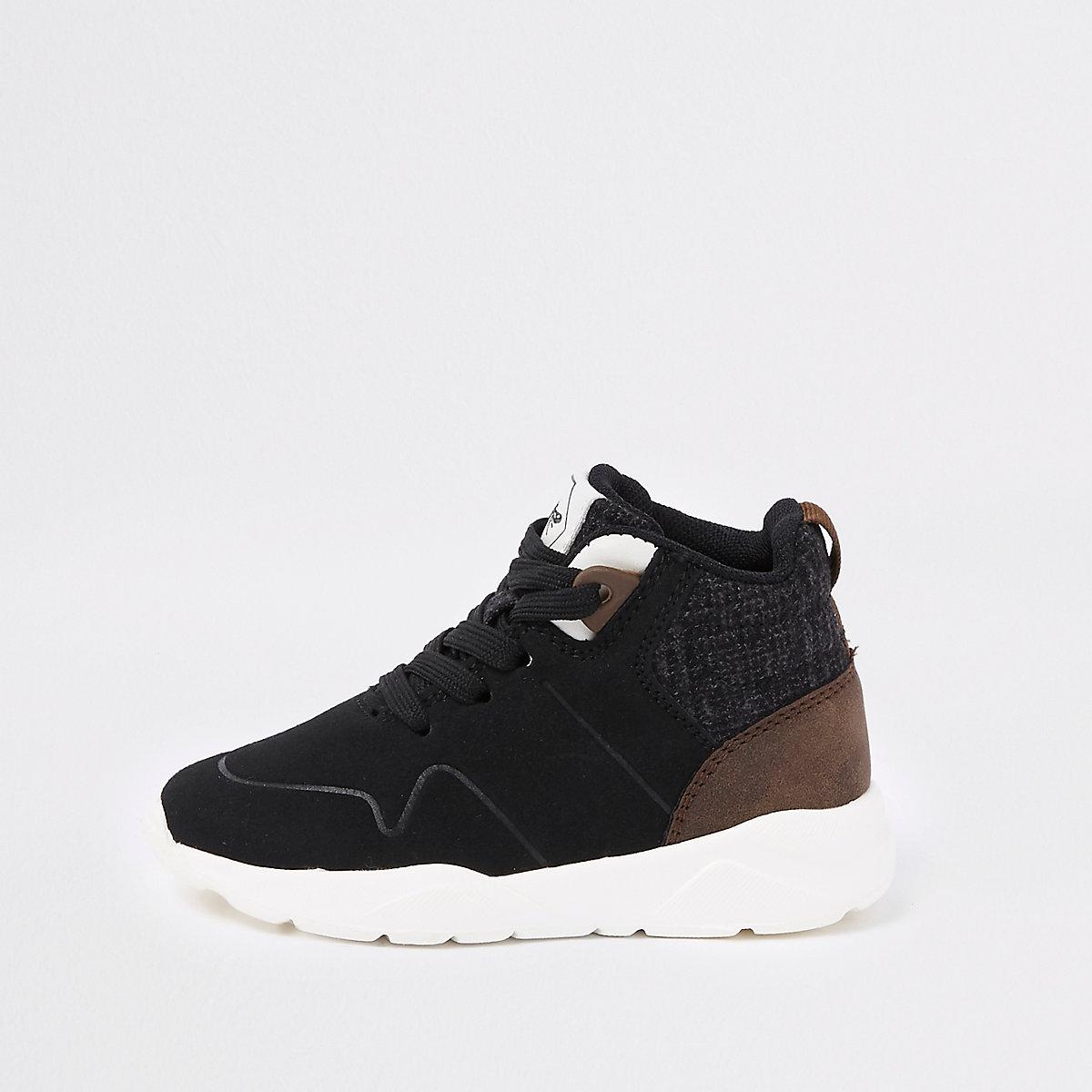 Mini boys black hi top sneakers