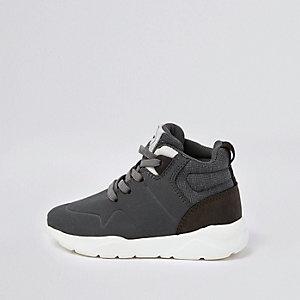 Mini - Grijze hoge sneakers voor jongens