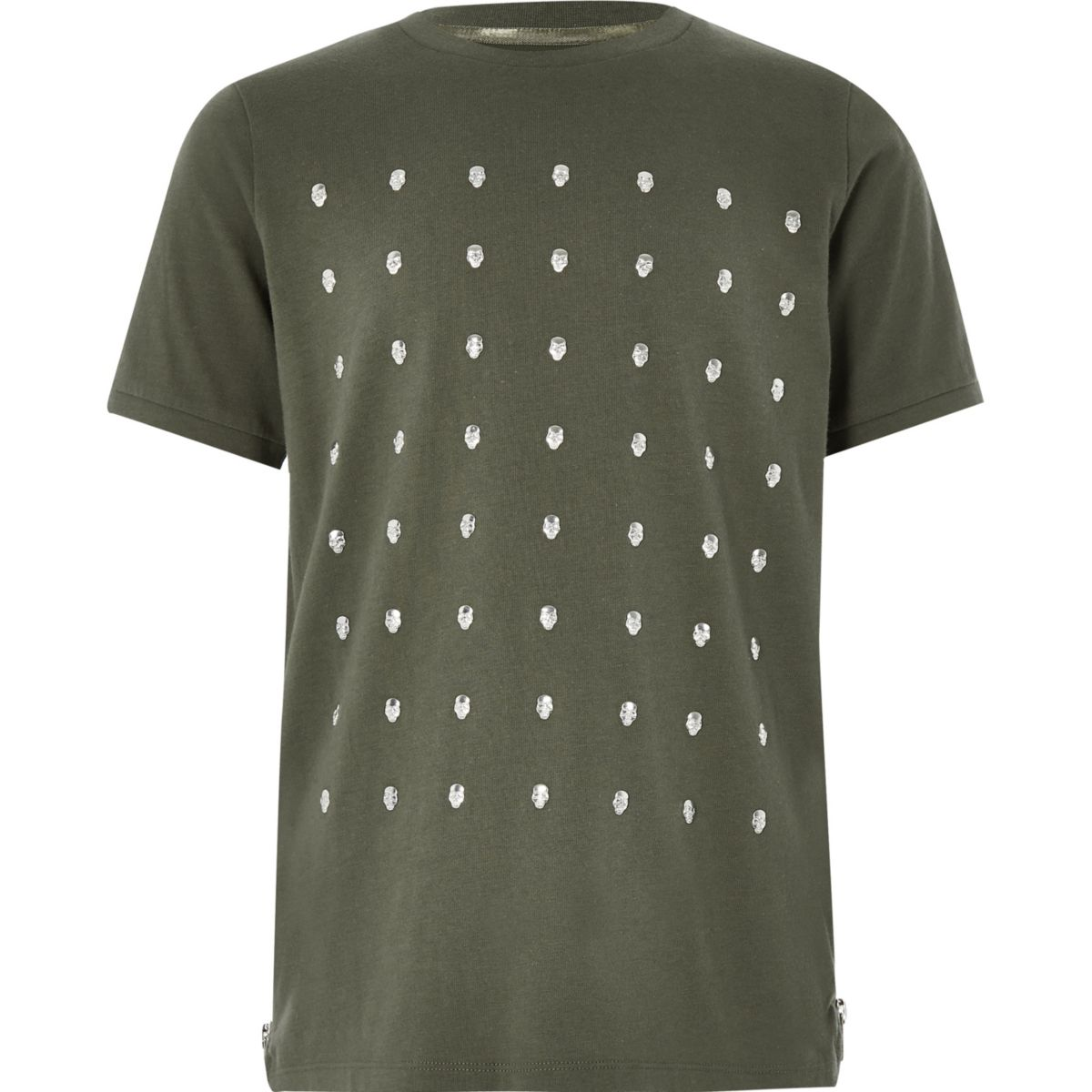 Boys khaki skull studded T-shirt