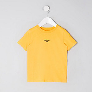 Mini boys yellow 'mini dude' tape T-shirt